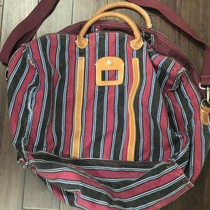 Handbags - Stripe and leather travel duffle bag